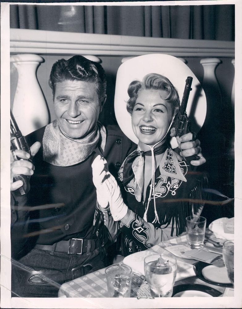 1954 Hollywood California Actors Jim Davis & Mary Castle at Ciros Wire Photo.jpg