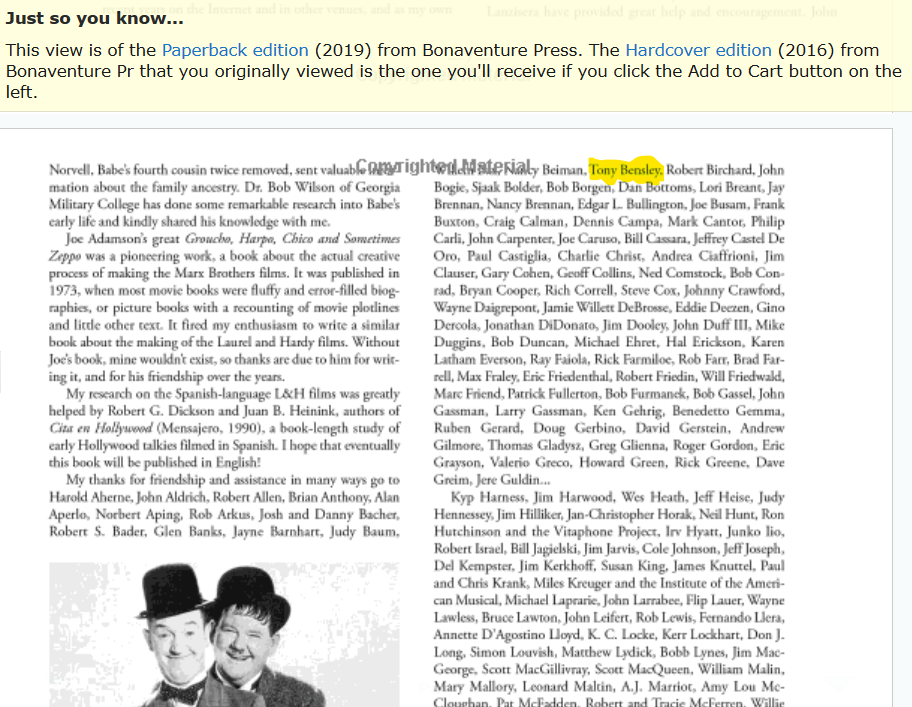 Laurel And Hardy Magic Behind The Movies (2019 Paperback) - Preface 2016 Edition - Credits.