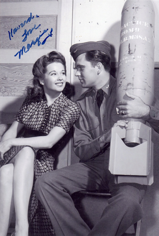 Margie-Stewart-with-Richard-Martin-on-the-set-of-Bombardier-1943_signed.jpg