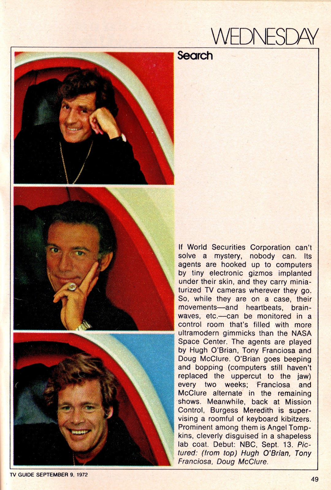 Search in TV Guide, Sept 9, 1972.
