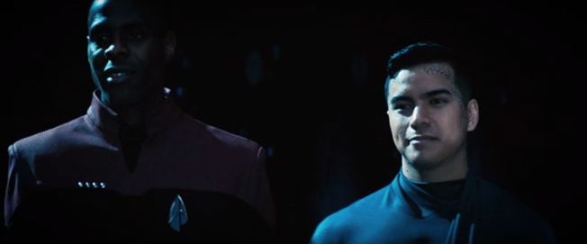 A screenshot from an episode of Star Trek: Discovery show two previous hosts of Adira Tal's Trill symbiont.
