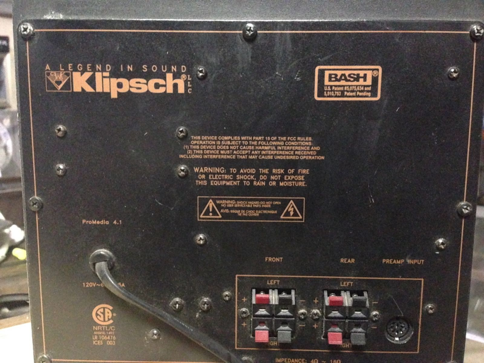 Help With Connection On A Klipsch Subwoofer  Promedia 4 1