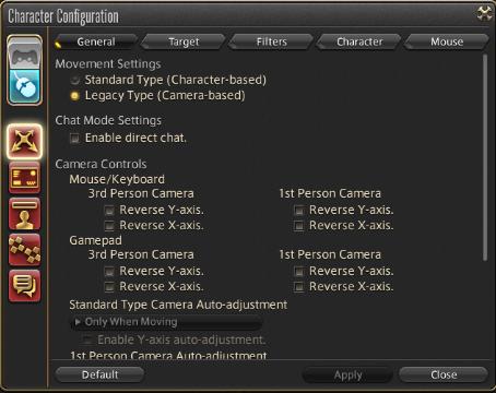 Character settings