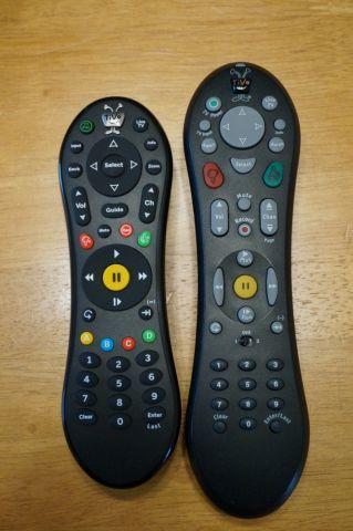 TiVo Roamio remote next to TiVo HD remote