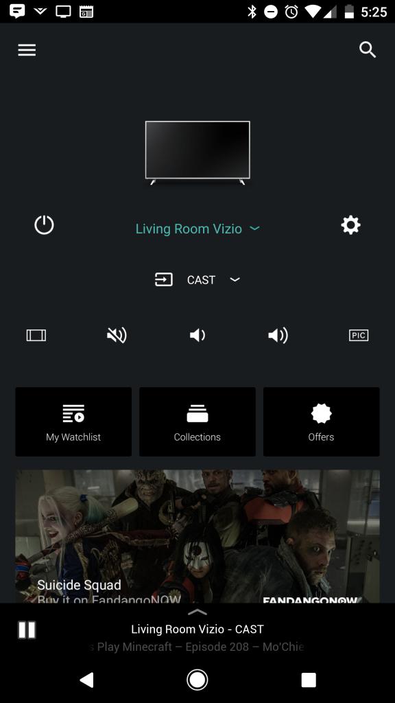 Vizio SmartCast App Home Screen